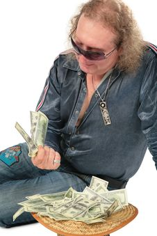 Free Man In Sunglasses With Dollars In Hat Stock Photo - 6372370
