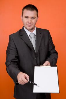 Free Businessman With Banner Royalty Free Stock Image - 6372836