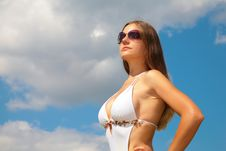 Free Girl In Sunglasses In Swimsuit Against Sky Stock Images - 6372844