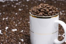 Free White Cup And Coffee Beans Royalty Free Stock Photos - 6374258