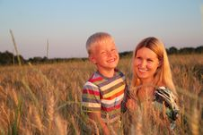 Free Mother And Son   On Wheaten Field Stock Photos - 6374603