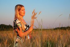 Free Young Woman With Earns  On Wheaten Field Stock Images - 6374664