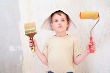 Free Boy With Brush And Roller In Paper Hat Stock Photos - 6374853