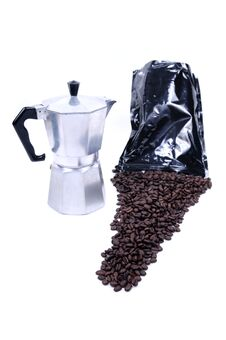 Coffee Spilled From Bag Royalty Free Stock Photography