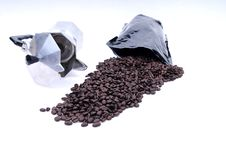 Coffee Spilled From Bag Royalty Free Stock Images