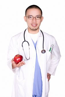 Free Doctor With An Apple Royalty Free Stock Image - 6375066