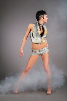 Free Dancing Young Woman In Smoke Royalty Free Stock Photos - 6376008