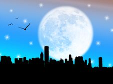 Free City In The Moon Royalty Free Stock Photos - 6376218