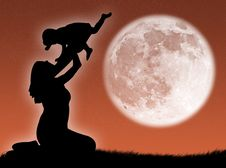 Free Mother And Son In The Moon Royalty Free Stock Images - 6376229
