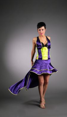 Free Beauty Dancing Woman In Dark Blue Stock Image - 6376261