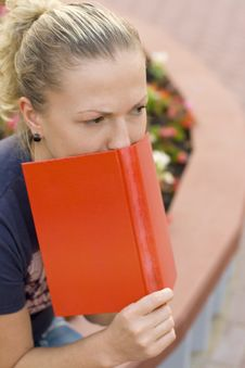 Free Woman With Red Book Stock Photo - 6376950