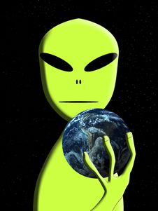 Alien With Earth 5 Royalty Free Stock Image