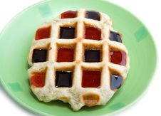 Waffle With Cocolatte And Strawberry Coating Royalty Free Stock Photos