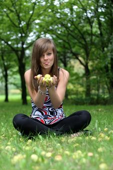 Free Young Pretty Girl Holding Apples In Hands Royalty Free Stock Photos - 6379288