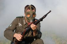 Free German Soldier In Gas Mask . WW2 Reenacting Stock Image - 6379511