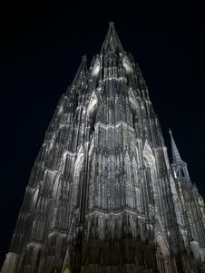 The Night Cathedral At Cologne, Germany. Stock Photography