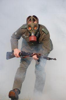 Free German Soldier In Gas Mask . WW2 Reenacting Stock Photos - 6379543