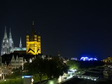 Free Night Quay In Cologne With Cathedral. Stock Images - 6379544