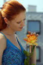 Free Young Girls With A Yellow Rose Royalty Free Stock Photos - 6386698