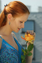 Free Young Girls With A Yellow Rose Royalty Free Stock Images - 6386819