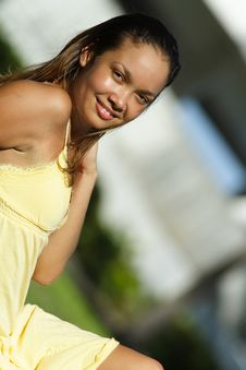Free Woman In A Yellow Dress Royalty Free Stock Photo - 6381305