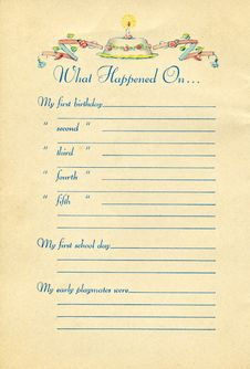 Free Page From Vintage Baby Book Royalty Free Stock Image - 6382236