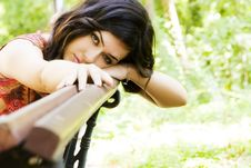 Free Woman In Bench Stock Photography - 6382352