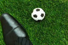 Foot Dribbling The Ball On The Grass Royalty Free Stock Photos