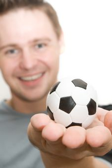 Free Soccer Player Holding A Small Ball Stock Images - 6382384