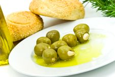 Free Snack With Fresh Olives,oil And Sesame Bun Stock Photos - 6383253