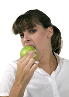 Free Close Up Of Woman Eating Apple Stock Photo - 6383930