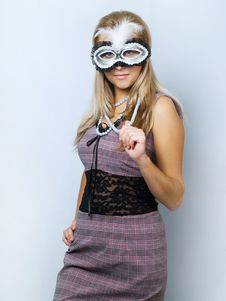 Free Girl With Mask Stock Image - 6384031