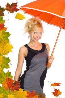 Beautiful Woman With Orange Umbrella