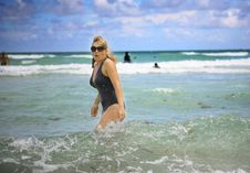 Woman In The Ocean Royalty Free Stock Image