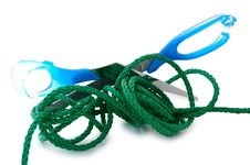 Green Cord And Steel Scissors. Stock Photo