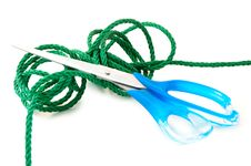Green Cord And Steel Scissors. Stock Images
