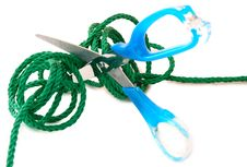 Green Cord And Steel Scissors. Stock Image
