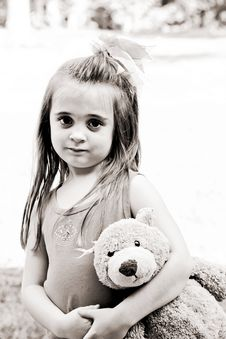 Free Little Girl With Her Best Friend Stock Photos - 6385143