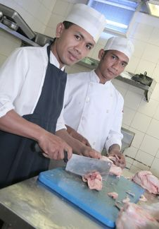 Chef At Butcher Stock Photos