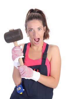 Woman With Black Rubber Mallet Stock Images