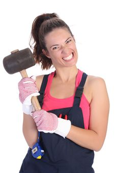 Free Woman With Black Rubber Mallet Royalty Free Stock Photography - 6388907