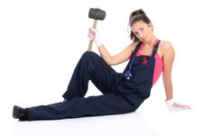 Free Woman With Black Rubber Mallet Royalty Free Stock Photo - 6389005