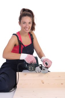 Free Woman Carpenter At Work Stock Image - 6389191