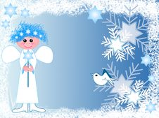 Free Cute Angel With Snowflakes Royalty Free Stock Images - 6389479