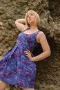 Free Stylish Blond Girl In Purple Dress Stock Photo - 6394600