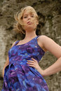 Free Stylish Blond Girl In Purple Dress Stock Images - 6394614
