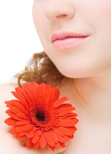 Young Woman With A Red Flower Stock Image