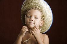 Free Little Boy In A Straw Hat Stock Photo - 6390850