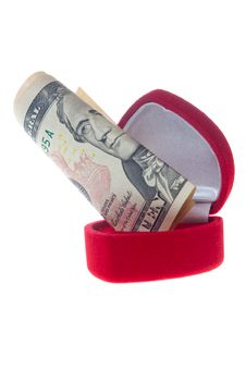 Ring Box And Money Royalty Free Stock Image
