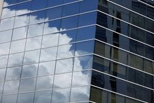 Clouds Reflection In Office Building Royalty Free Stock Images